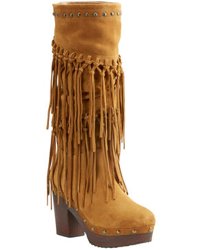 Ariat Women's Music Row Wheat Suede Fringe Boots - Round Toe, Wheat, hi-res