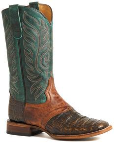 Roper Women's Brown Sami Saddle Vamp Caiman Belly Boots - Square Toe, Brown, hi-res