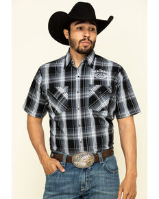 Jack Daniel's Men's Black Med Plaid Short Sleeve Western Shirt , Black, hi-res