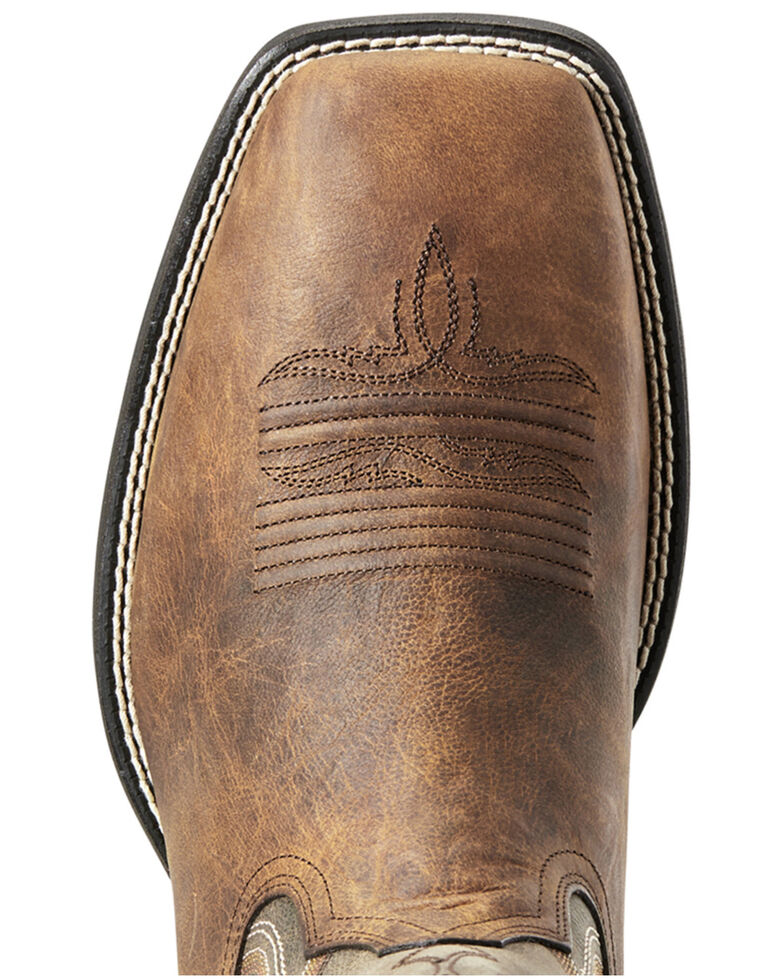 Ariat Men's Amos Quickdraw Western Boots - Wide Square Toe, Green/brown, hi-res