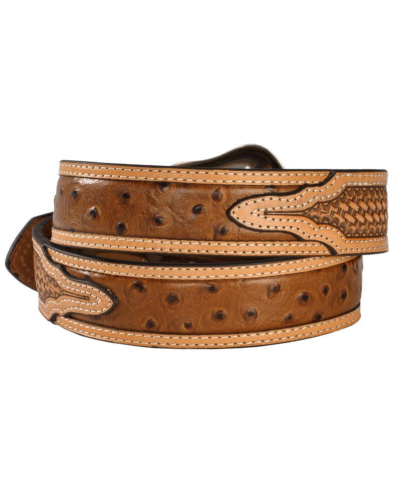 Nocona Basketweave Ostrich Print Leather Belt, Cognac, hi-res
