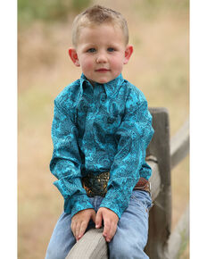 Cinch Toddler Boys' Teal Paisley Print Long Sleeve Western Shirt , Teal, hi-res