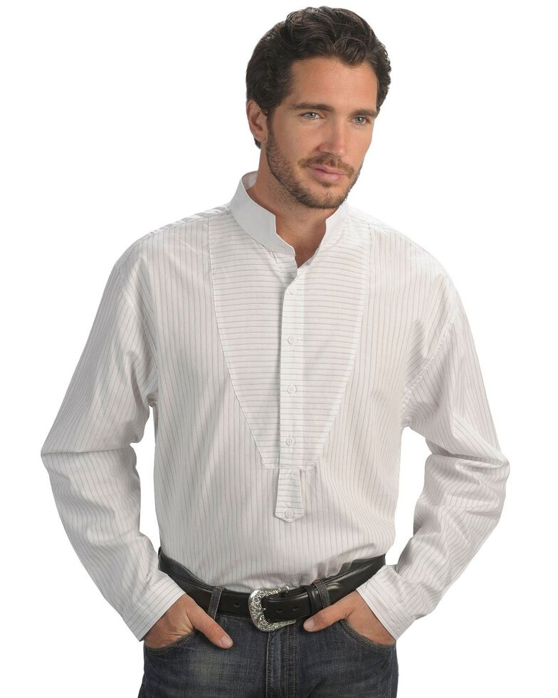 Rangewear by Scully Men's Frontier Stripe Long Sleeve Western Shirt, White, hi-res