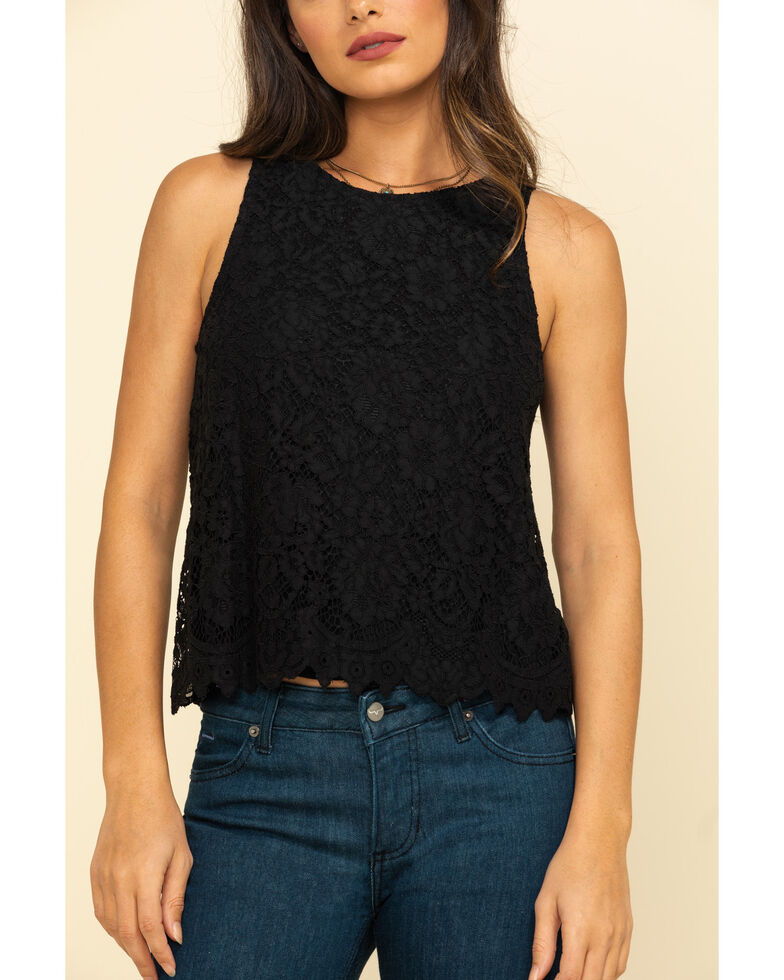 Rock & Roll Cowgirl Women's Black Lace Tank Top , Black, hi-res
