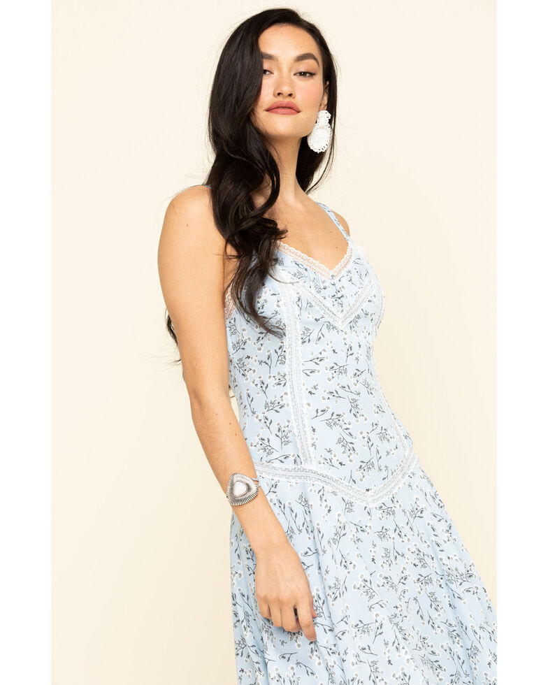 Miss Me Women's Blue Floral Lace Hanky Dress, Blue, hi-res