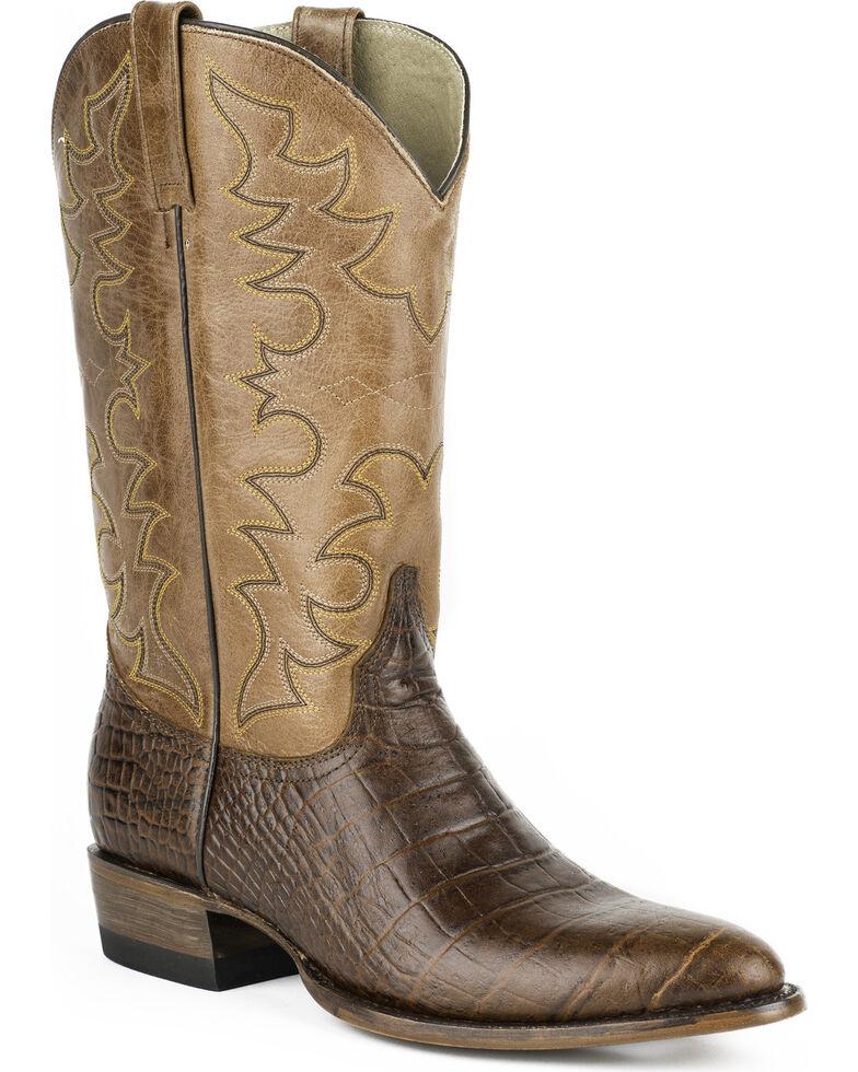 Roper Men's Croc Print Tall Cowboy Boots - Round Toe, Brown, hi-res