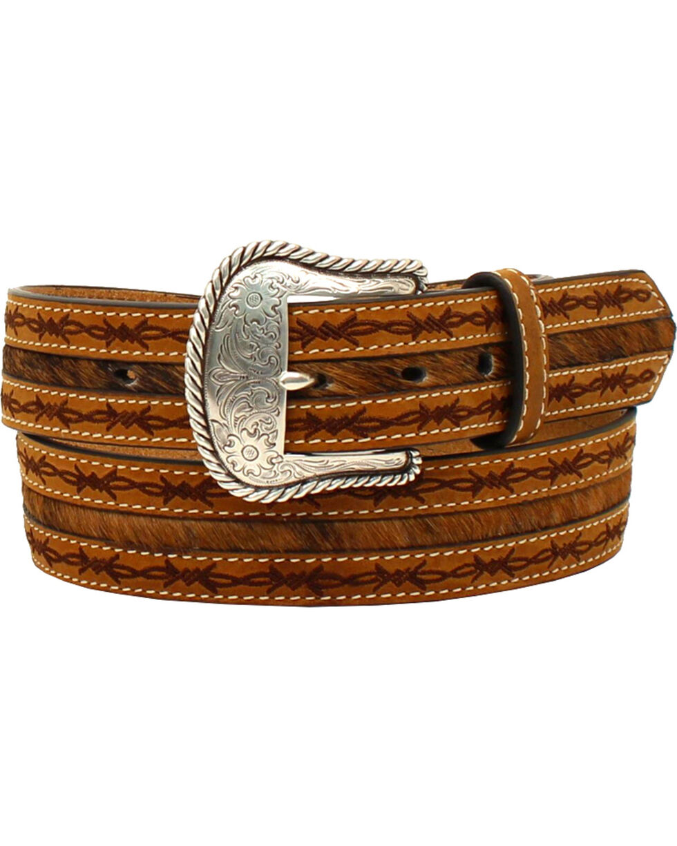 Nocona Men's Barbwire Edges Belt , Tan, hi-res