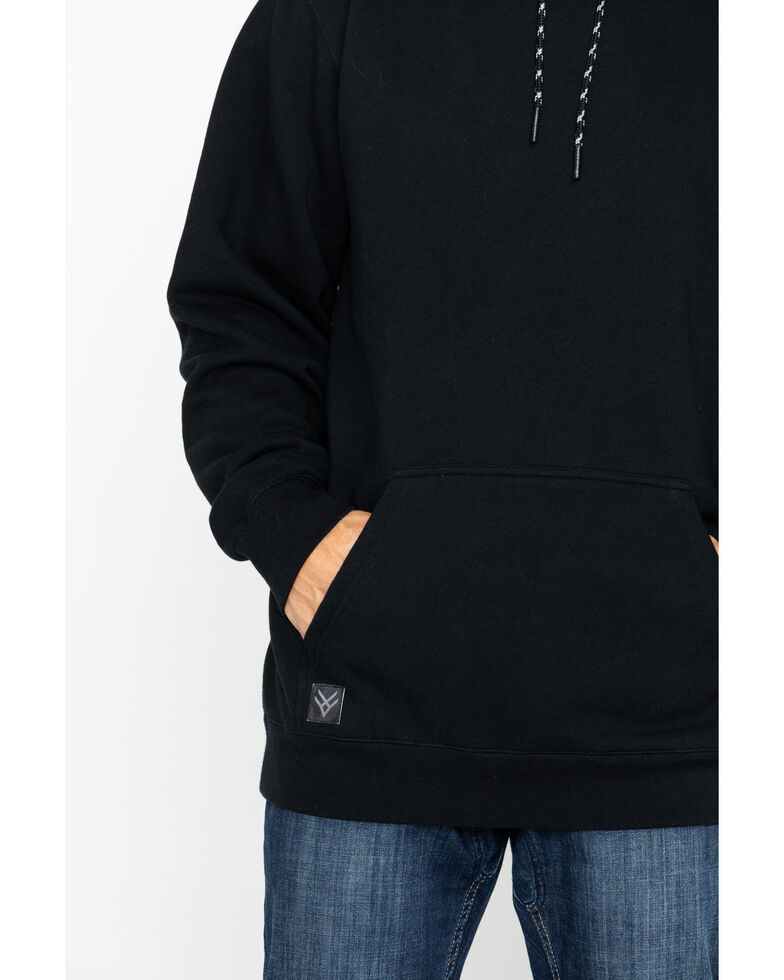 Hawx Men's Logo Sleeve Pullover Work Hooded Work Sweatshirt - Tall , Black, hi-res