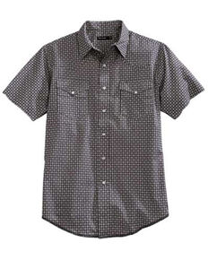 Tin Haul Men's Aztec Mini Geo Print Snap Short Sleeve Western Shirt , Grey, hi-res