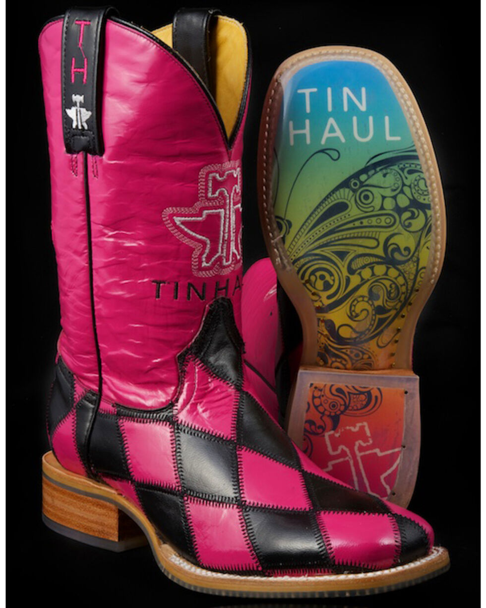 Tin Haul Women's Harlequin Western Boots, Pink, hi-res