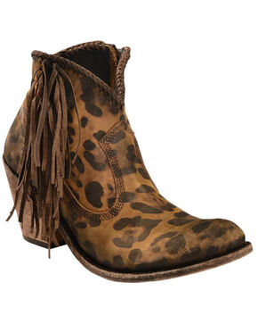 Liberty Black Women's Chita Miel Fringe Booties - Medium Toe, Cheetah, hi-res