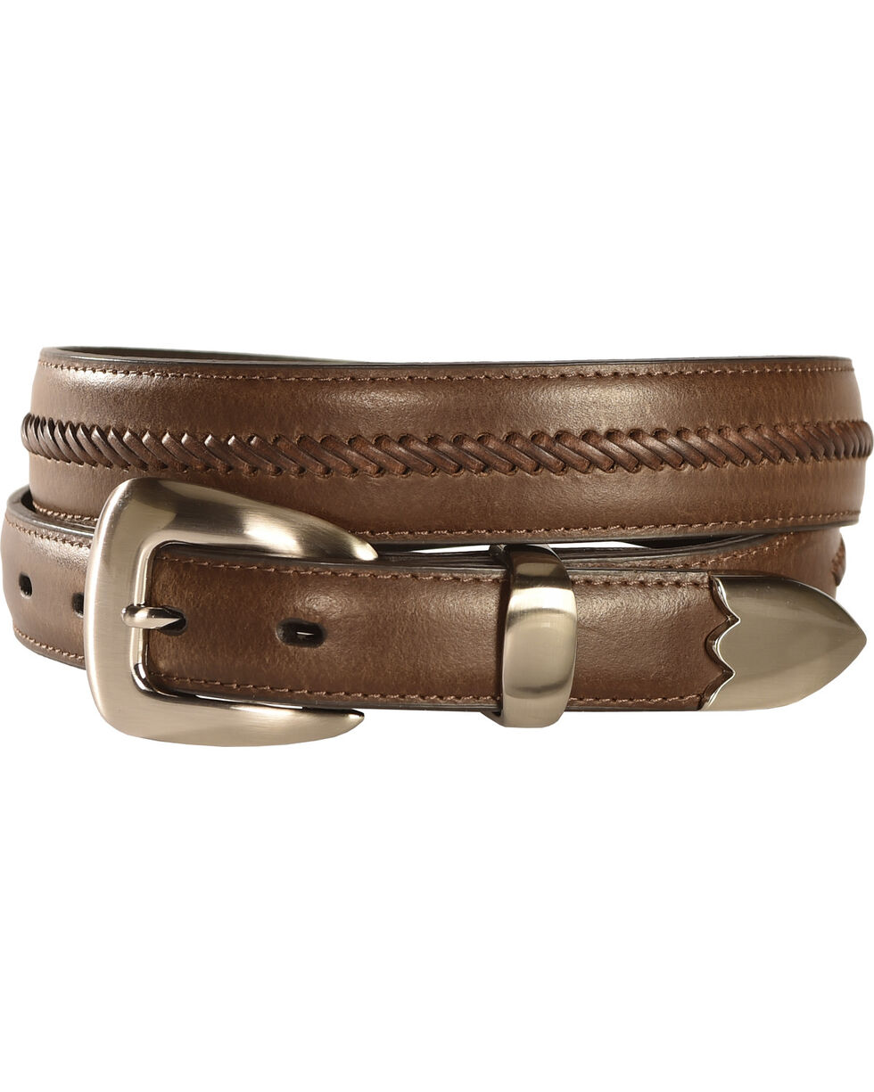Nocona Men's Braided Leather Western Belt, Brown, hi-res