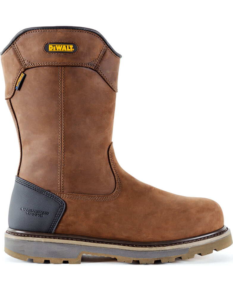 DeWalt Men's Tungsten Pull-On Waterproof Work Boots - Aluminum Toe, Brown, hi-res
