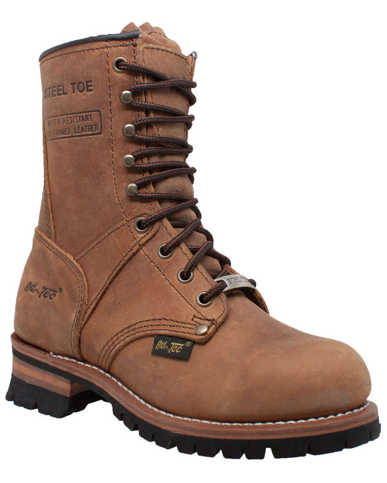 Ad Tec Women's Brown Logger Boots - Steel Toe, Brown, hi-res