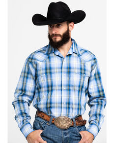 Roper Men's Amarillo Blue Grass Plaid Long Sleeve Western Shirt , Blue, hi-res