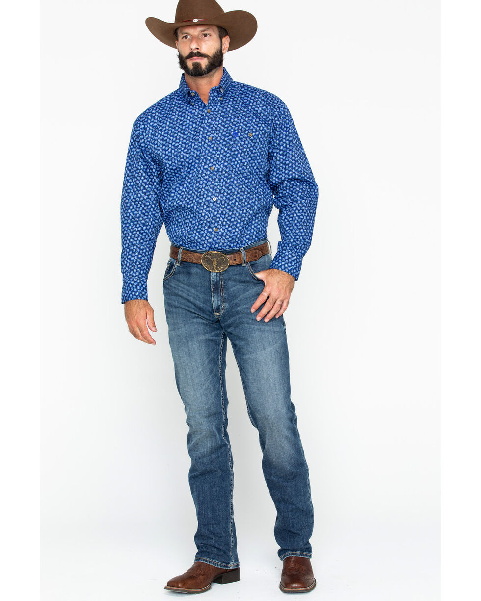 George Strait by Wrangler Paisley Print Long Sleeve Western Shirt , Blue, hi-res