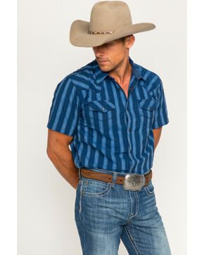 Cody James Men's Drifter Blue Stripe Short Sleeve Western Snap Shirt, Blue, hi-res