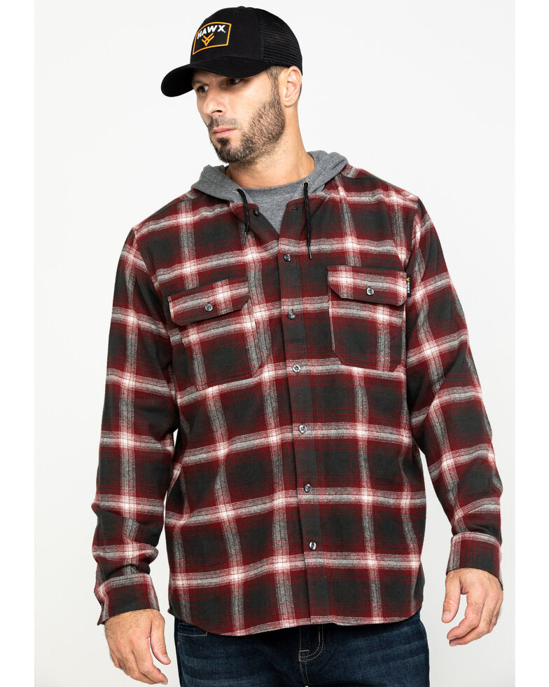 Hawx Men's Red Plaid Hooded Flannel Shirt Work Jacket - Tall , Red, hi-res