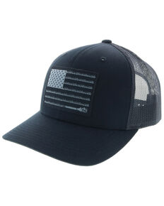 HOOey Men's Liberty Roper Flag Trucker Cap, Black, hi-res