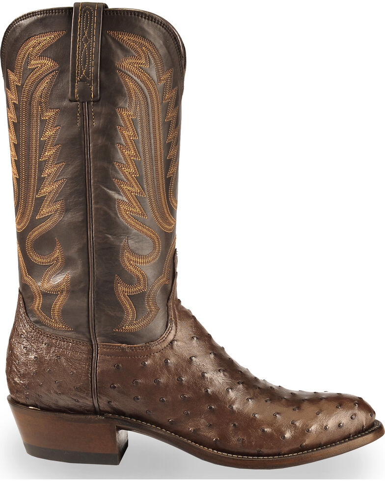 Lucchese Men's Handmade Dark Brown Luke Full Quill Ostrich Boots - Medium Toe , Dark Brown, hi-res