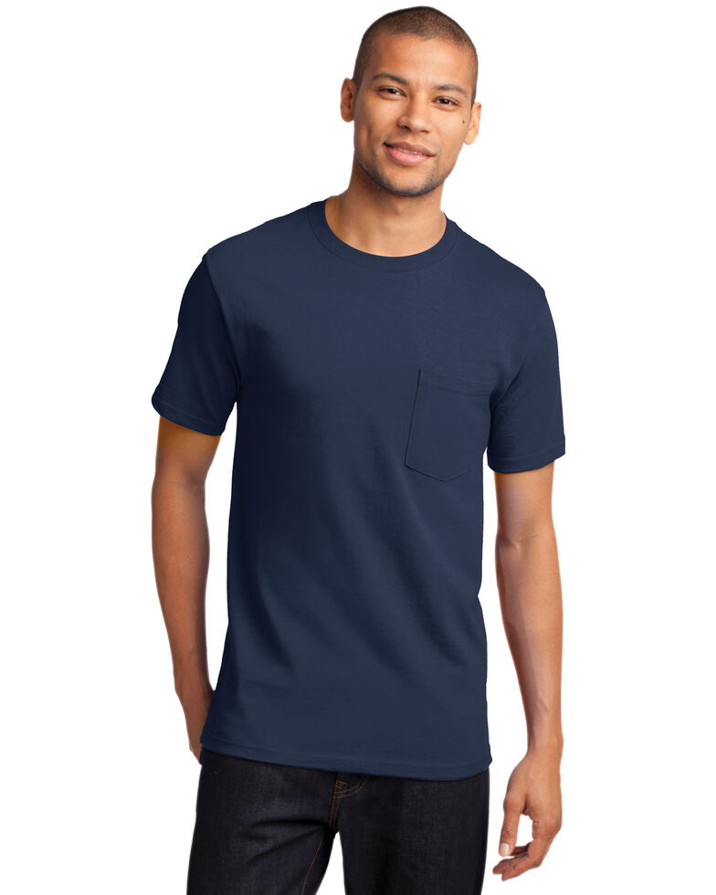 Port & Company Men's Navy 3X Essential Solid Pocket Short Sleeve Work T-Shirt - Big , Navy, hi-res