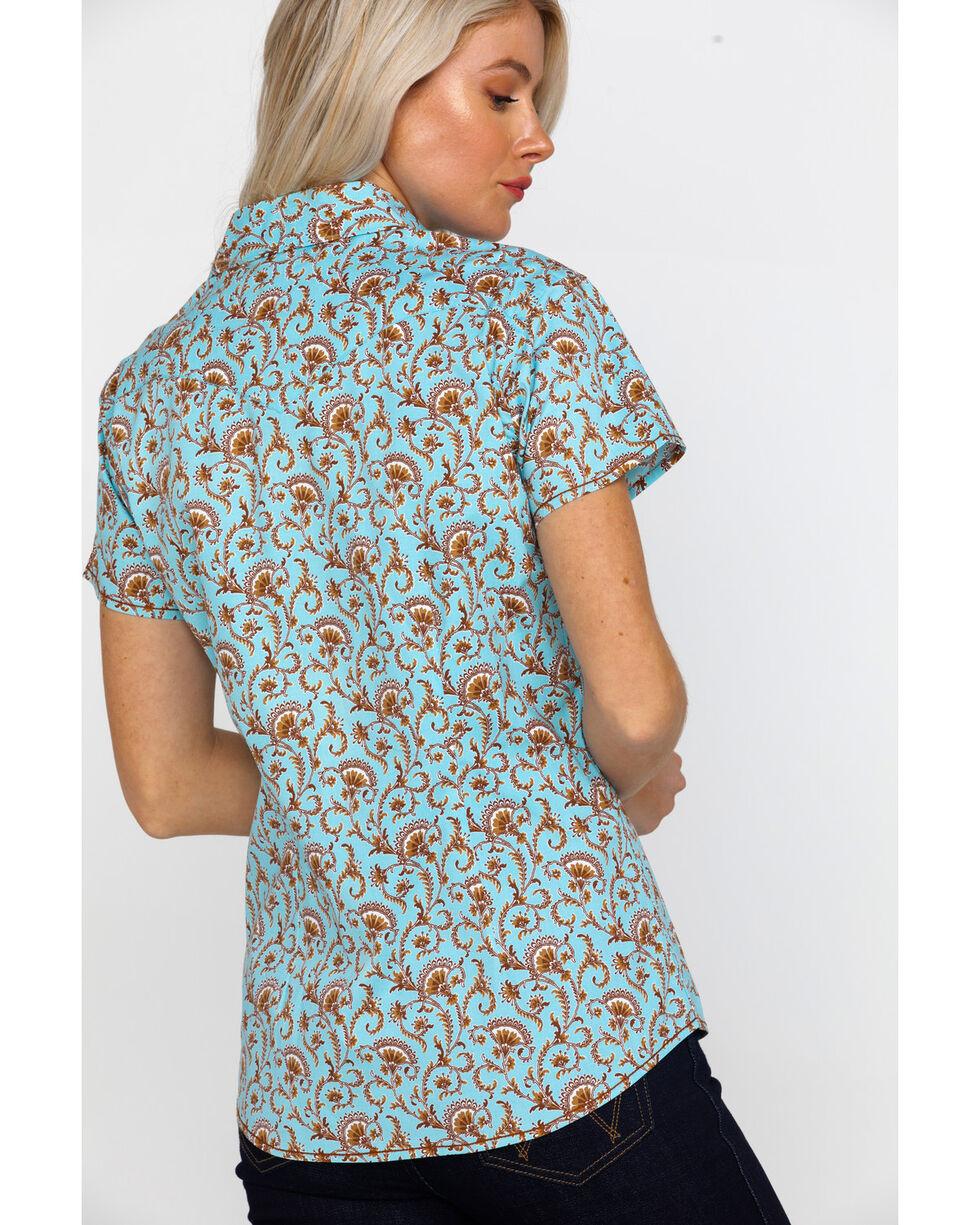 Rough Stock By Panhandle Women's Glavez Print Short Sleeve Western Shirt , Blue, hi-res