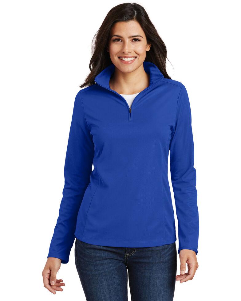 Port Authority Women's True Royal 2X Pinpoint Mesh 1/2 Mesh Pullover - Plus, Royal Blue, hi-res