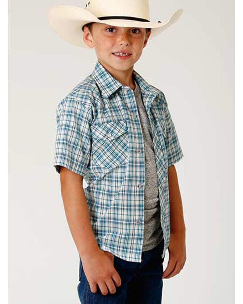 Roper Boys' Blue Woven Plaid Short Sleeve Western Shirt , Blue, hi-res