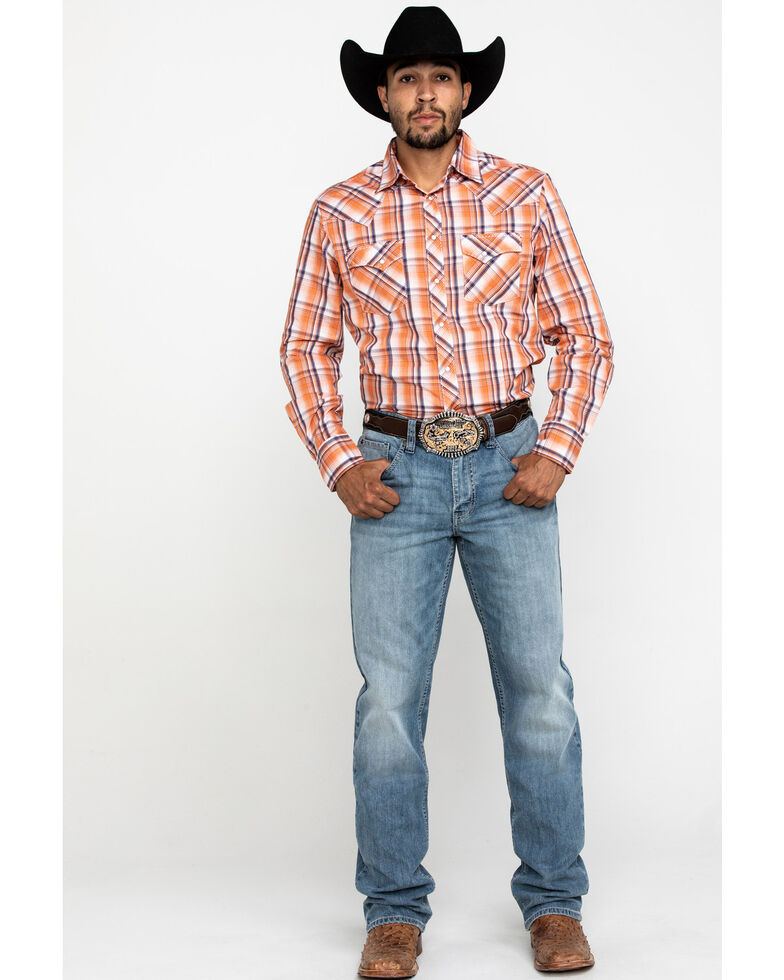 Wrangler Men's Orange Dobby Plaid Fashion Snap Long Sleeve Western Shirt , , hi-res