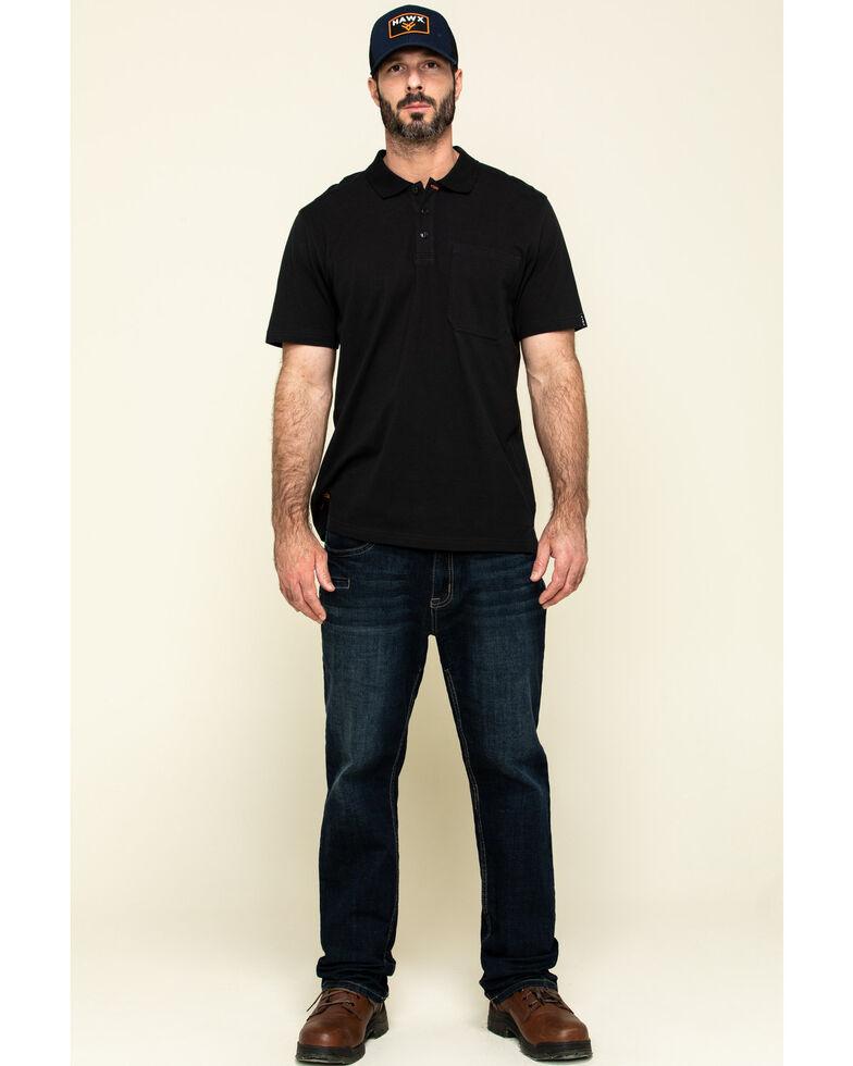 Hawx Men's Black Miller Pique Short Sleeve Work Polo Shirt - Tall , Black, hi-res
