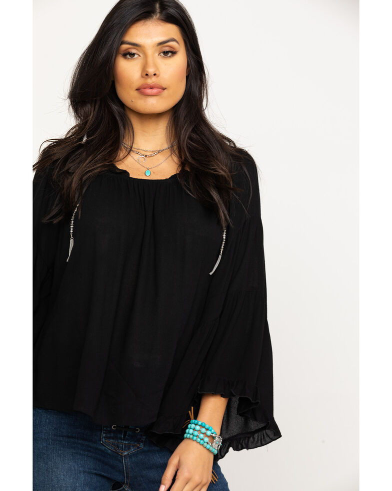 Red Label by Panhandle Women's Solid Ruffle Off The shoulder Top, Black, hi-res