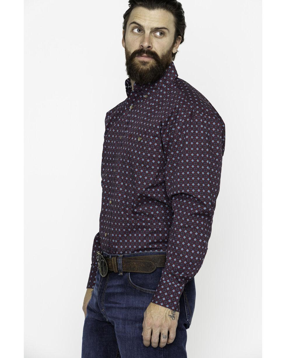 George Strait by Wrangler Men's Wine Pattern Long Sleeve Western Shirt, Wine, hi-res