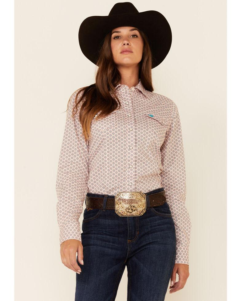 Cinch Women's Red Geo Print Long Sleeve Western Core Shirt , Red, hi-res