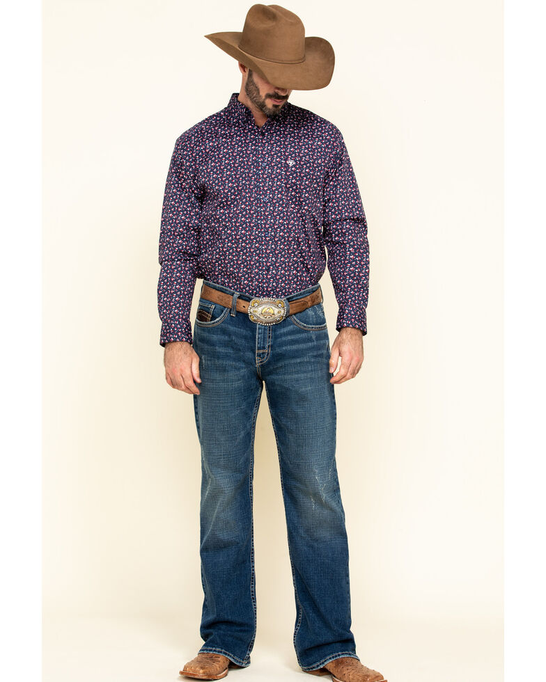 Ariat Men's Namas Stretch Floral Print Long Sleeve Western Shirt - Tall , Navy, hi-res