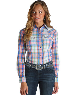Wrangler Women's Pink Plaid Long Sleeve Top , Pink, hi-res