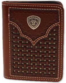 Ariat Men's Bifold Basketweave Western Wallet, Brown, hi-res