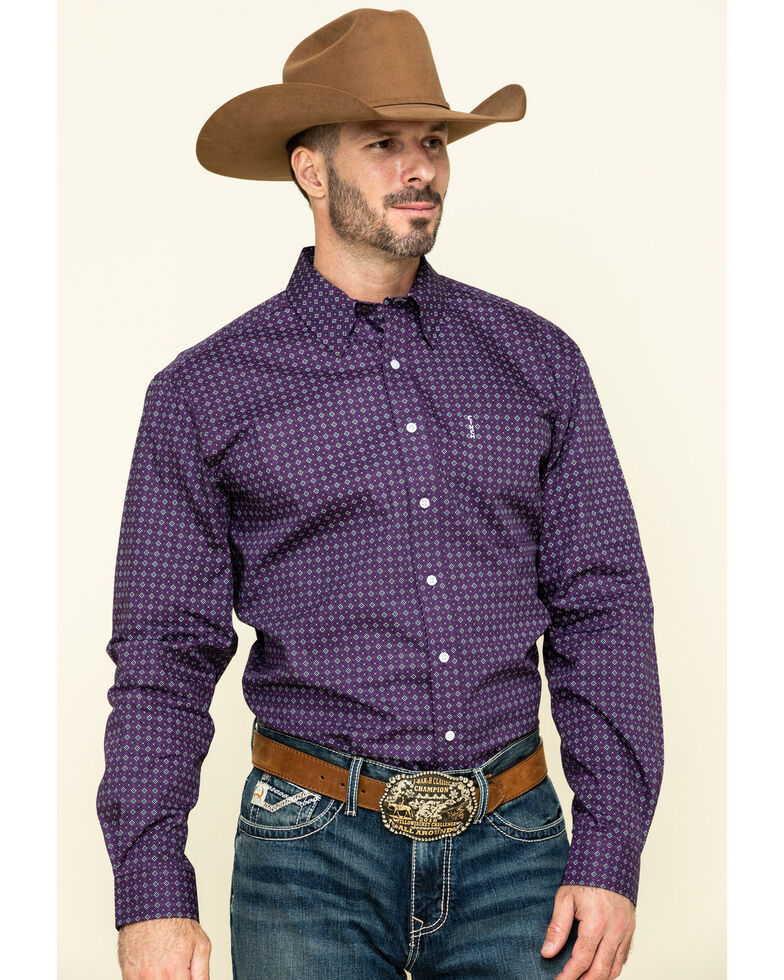 Cinch Men's Modern Fit Purple Geo Print Long Sleeve Western Shirt , Purple, hi-res