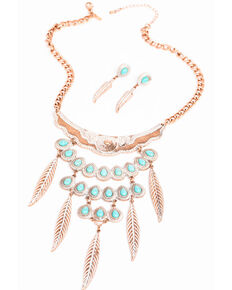 Shyanne Women's Wanderlust Feather Turquoise Bib Necklace Set, Tan/copper, hi-res