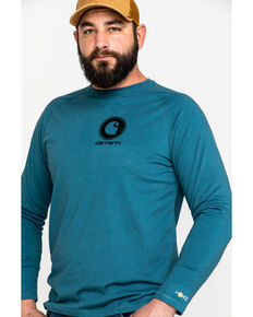 Carhartt Men's Force Cotton Delmont Long Sleeve Work Shirt , Slate, hi-res