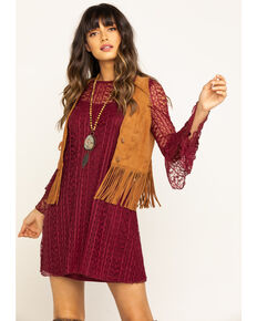 Wrangler Women's Burgundy Ruffle Sleeve Lace Dress, Burgundy, hi-res