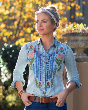 Ryan Michael Women's Indigo Embroidered Denim Shirt , Indigo, hi-res