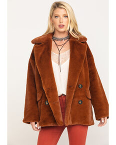 Free People Women's Wine Kate Faux Fur Coat, Wine, hi-res