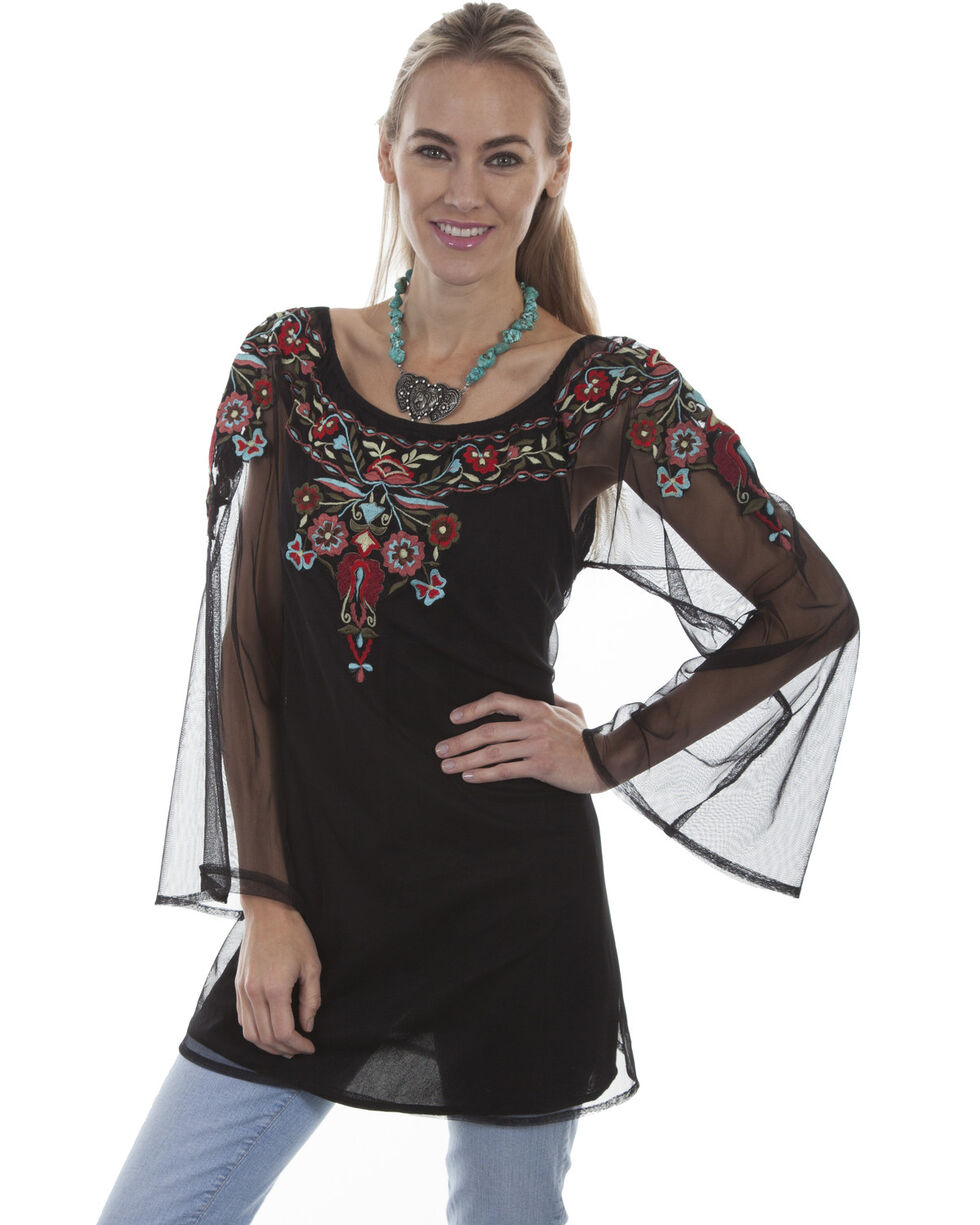 Honey Creek by Scully Women's Black Sheer Floral Embroidered Long Sleeve Top, , hi-res