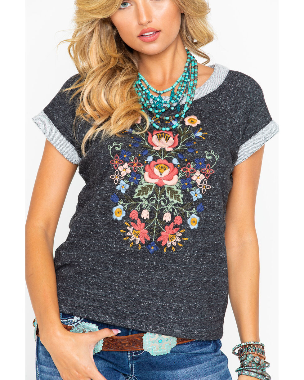 White Crow Women's FrenchTerry Floral Embroidered Short Sleeve Shirt , Charcoal, hi-res