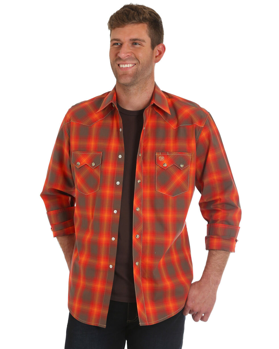 Wrangler Men's Retro Orange Plaid Shirt, Orange, hi-res