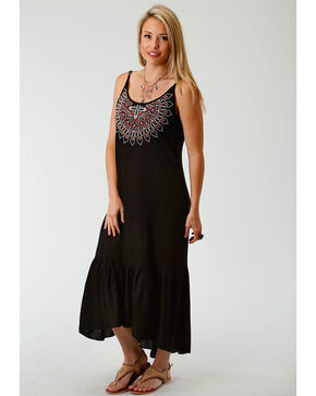 Roper Women's Black Embroidered Maxi Dress, Black, hi-res