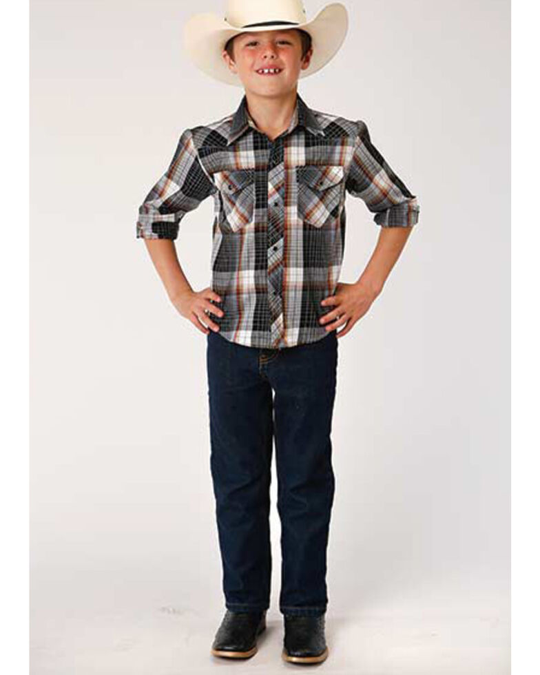 Roper Boys' Classic Black Windowpaine Plaid Long Sleeve Western Shirt , Black, hi-res