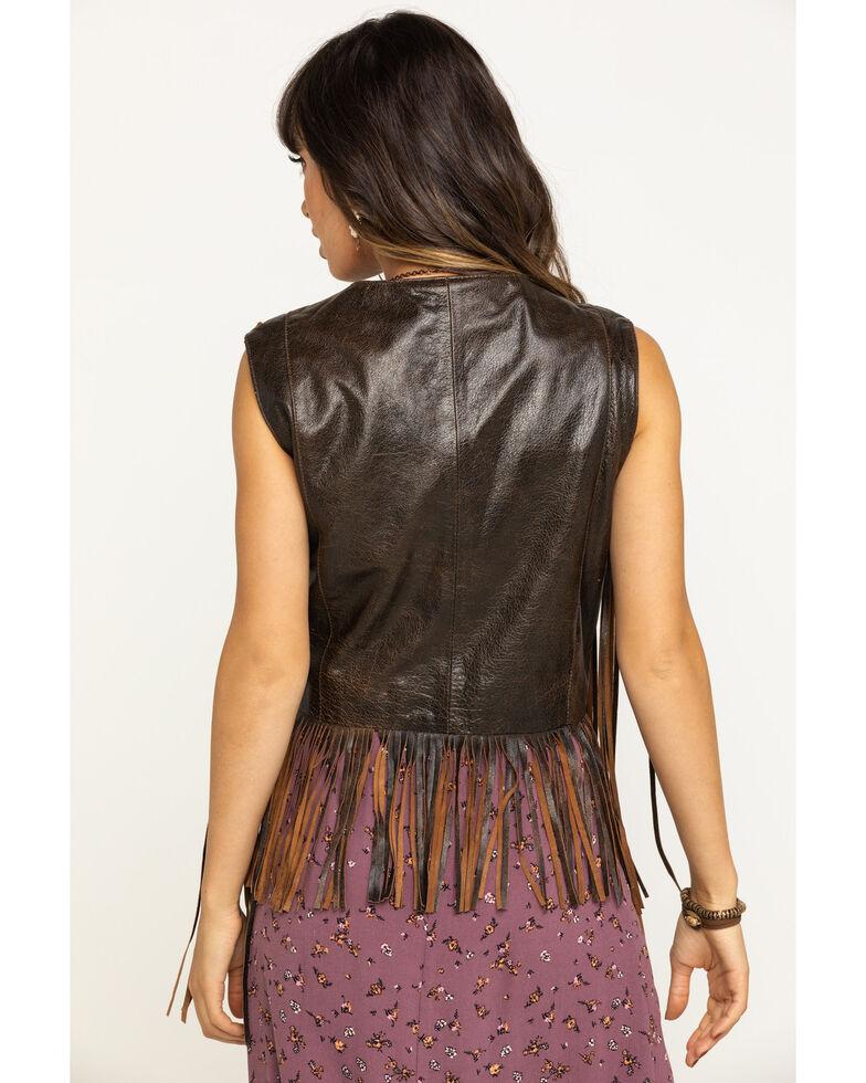 Cripple Creek Women's Coffee Bean Open Front Long Fringe Vest, Brown, hi-res