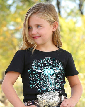 Cruel Girl Girls' Aztec Steer T-Shirt , Black, hi-res