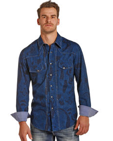 Rock & Roll Cowboy Men's Blue Paisley Print Shirt , Blue, hi-res